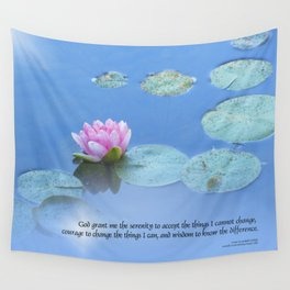 Serenity Prayer Pink Water Lily Wall Tapestry