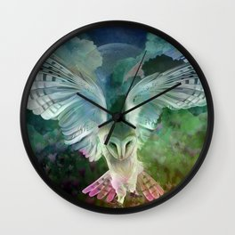 """Owl flight and spring night"" Wall Clock"