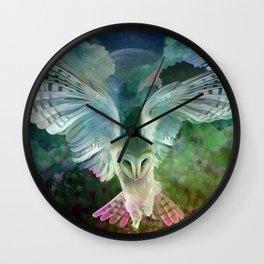 """Owl flight and spring night"" Wall Clock"