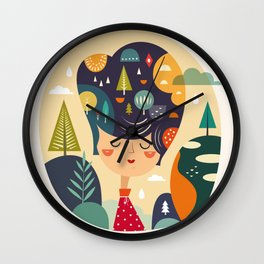 Girl with Trees Wall Clock
