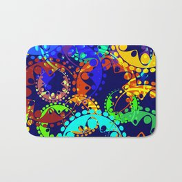 Texture of bright colorful gears and laurel wreaths in kaleidoscope style on a sea background. Bath Mat