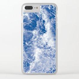 Navy Waves Summer Beach Clear iPhone Case