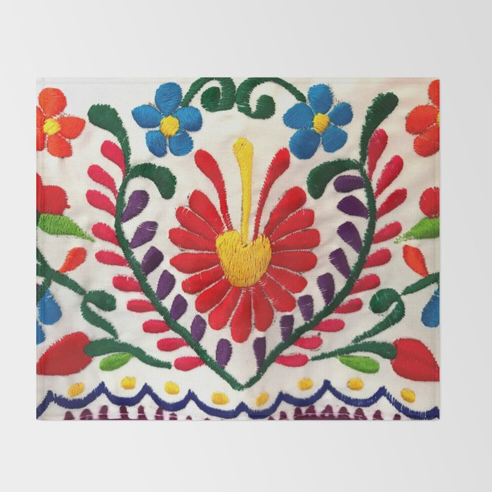 Red Mexican Flower Throw Blanket By Tsalaz1