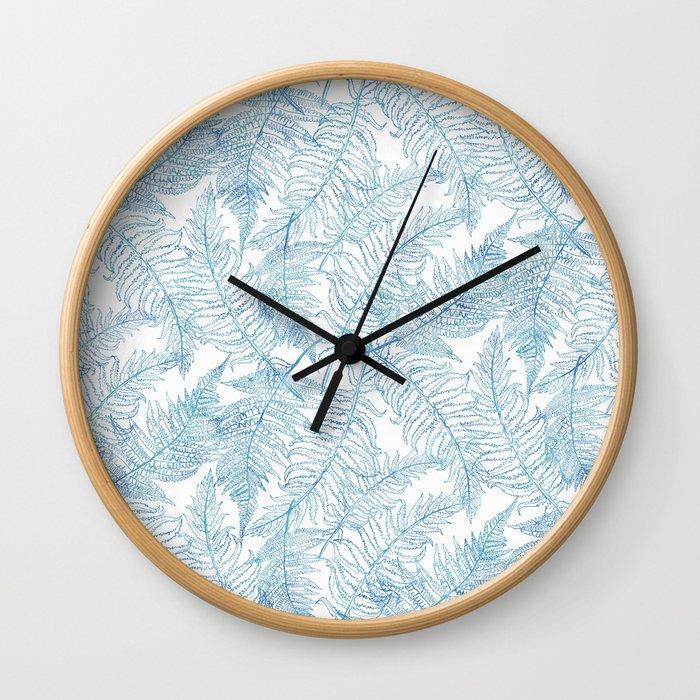 Fern Silhouette Blue Wall Clock