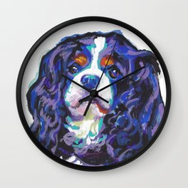 Tri-color Cavalier King Charles Spaniel Dog bright colorful Pop Art by LEA Wall Clock