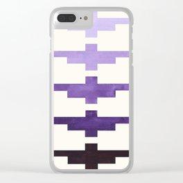 Mid Century Minimalist Ancient Aztec Inca Geometric Pattern Watercolor Purple Colorful Gouache Paint Clear iPhone Case