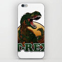 Agressive t rex illustration iPhone Skin