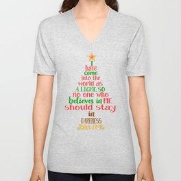 Christmas Tree Shaped Bible Verse John 12:46 Holiday Design Unisex V-Neck