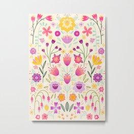 Bright Floral Symmetry Metal Print