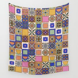 Hand Drawn Floral Patchwork Wall Tapestry