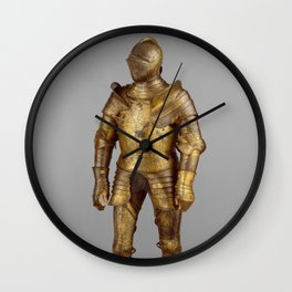 Vintage Golden Knight Armor Photograph (1527) Wall Clock