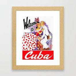 Vintage Welcome to Cuba Travel Poster Framed Art Print