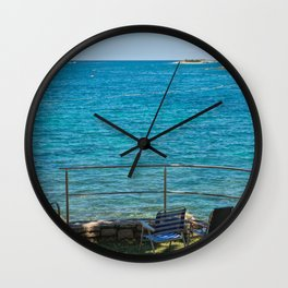 Rocky beach, two chairs and bue sea in Istria, Croatian coast Wall Clock