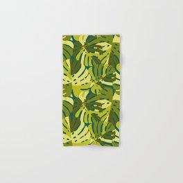 Monstera Leaves in Green Hand & Bath Towel