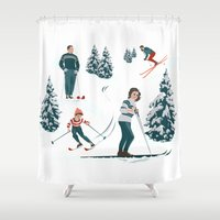 sports Shower Curtains featuring Sports d'hiver by Vannina