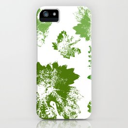 Green leaves stamp iPhone Case