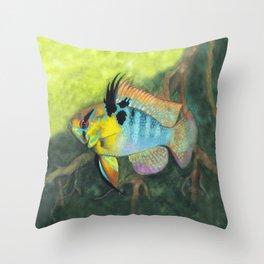 Blue Ram in Nature Throw Pillow