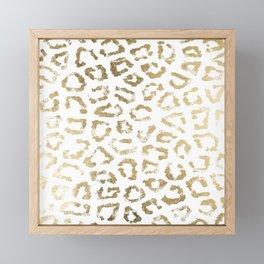 Modern white chic faux gold foil leopard print Framed Mini Art Print