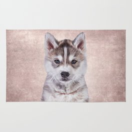 Drawing puppy Husky Rug
