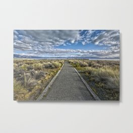 Mono Lake Trail Blue Sky And Clouds Metal Print