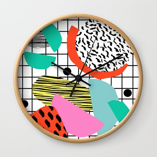 Posse - 1980's style throwback retro neon grid pattern shapes 80's memphis design neon pop art by wacka