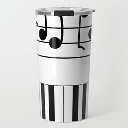Music Notes with Piano Keyboard Travel Mug