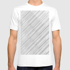 Overlapping Circles Pattern Mens Fitted Tee White MEDIUM