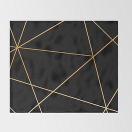 Geometric black gold Throw Blanket