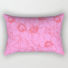 Australian Waxflower Line Floral in Pink Rectangular Pillow
