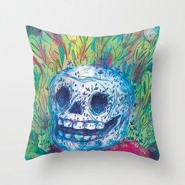 Mayan Skull Throw Pillow