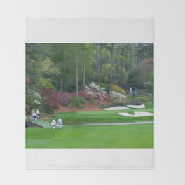 Golf's Amen Corner Augusta Georgia - Golfers on Bridge Throw Blanket