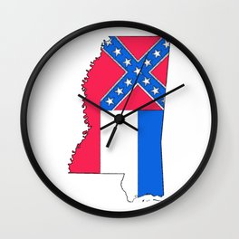 Mississippi Map with Mississippi Flag Wall Clock