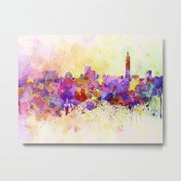 Taipei skyline in watercolor background Metal Print