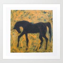 Shadow Horse on Yellow Art Print