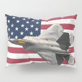 F22 Stealth Fighter Jet American Flag Pillow Sham