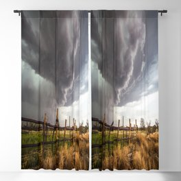 Western Life - Barbed Wire and Storm on the Ranch Blackout Curtain