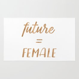 The Future is Female Copper Bronze Gold on Marble Rug