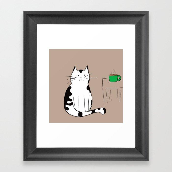 Java the Coffee Cat Framed Art Print