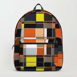 An abstract geometric pattern. Orange , brown ,yellow-cage . Backpack