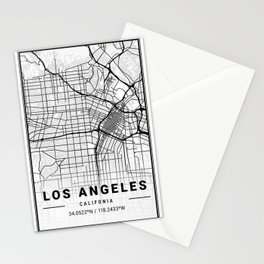 Los Angeles Light City Map Stationery Cards