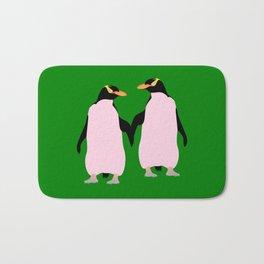 Gay Pride Lesbian Penguins Holding Hands Bath Mat