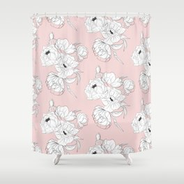 Peonies on pink Shower Curtain