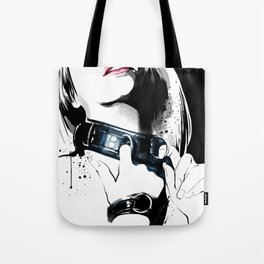 Beauty portrait, Woman slave collar, Nude art, Black and white, Fashion painting Tote Bag