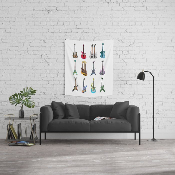 Electric Guitars Watercolor Wall Tapestry