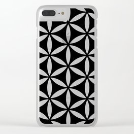 flower of life - simple black and white geometric symbol Clear iPhone Case