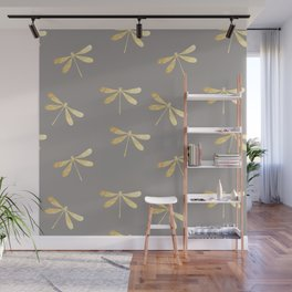 dragonfly pattern: gold & grey Wall Mural