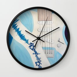 Blue Guitar and Strap Wall Clock