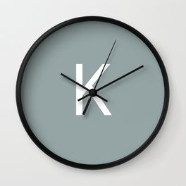 Letter K Initial Monogram - White on Concret Wall Clock