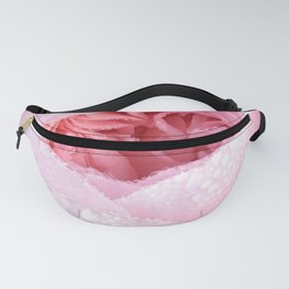 Pink rose with raindrops Fanny Pack