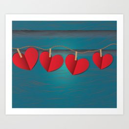 Red paper hearts tie to a rope Art Print